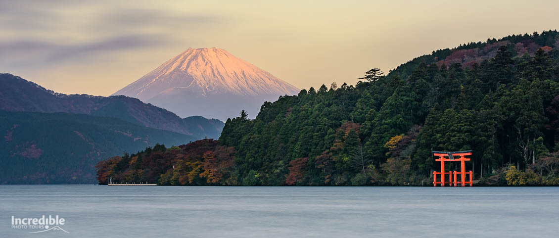 Sunrise over Mount Fuji, Lake Ashinoko, and Hakone Shrine